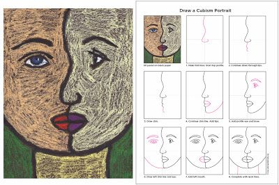 Art Projects For Kids How To Draw A Cubism Portrait Picasso Art Homeschool Art Elementary Art Projects