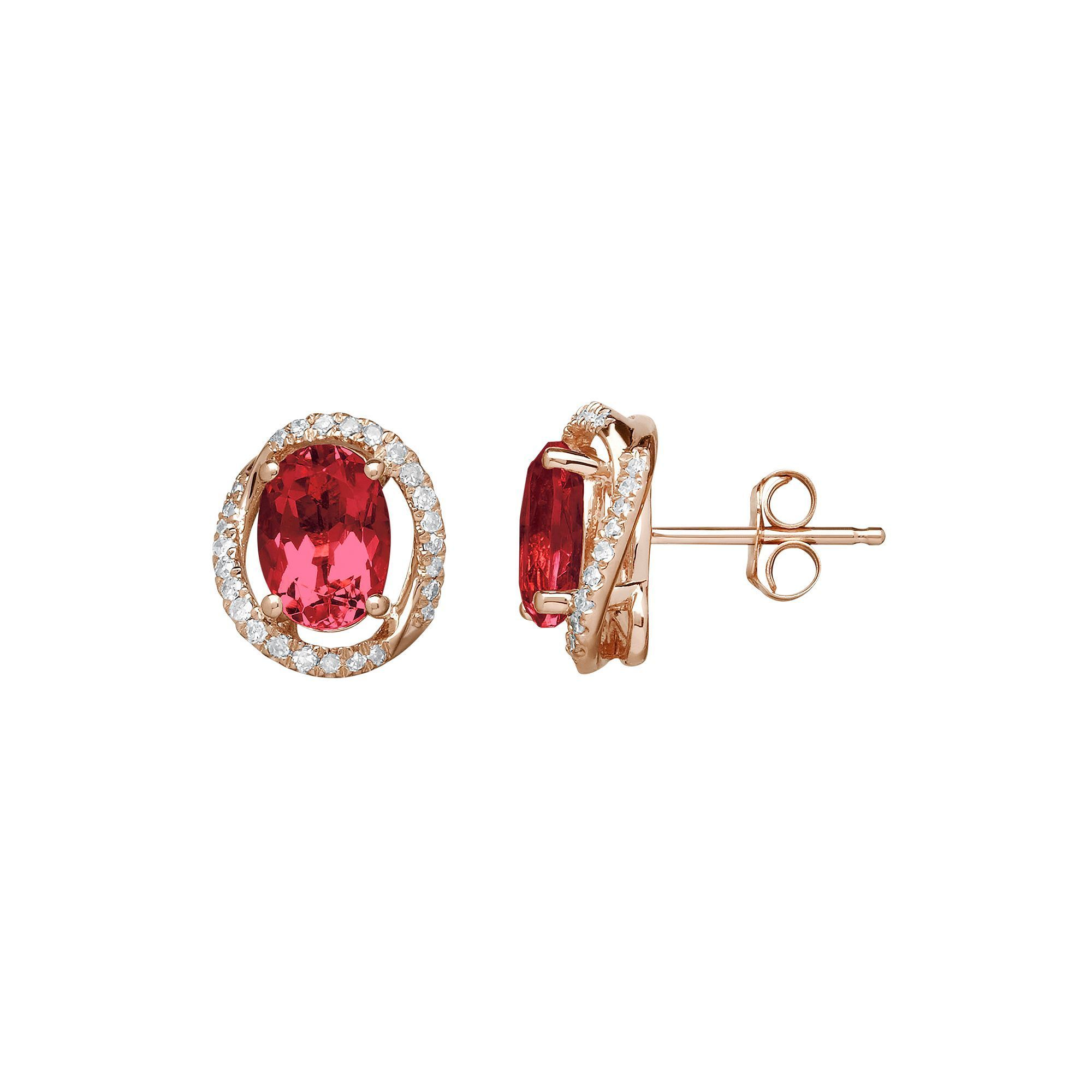 Ruby 1 8 Carat T W Diamond 10k Rose Gold Halo Button Stud Earrings Ruby Earrings Studs Rose Gold Earrings Studs Stud Earrings