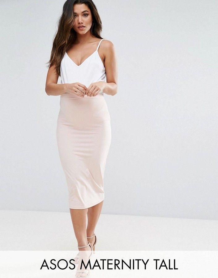 f0032c32f90 Asos Maternity Tall Over The Bump Midi Pencil Skirt In Jersey ...