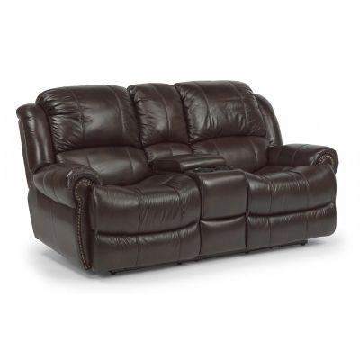 Surprising Flexsteel 1311 604P Capitol Leather Power Reclining Loveseat Machost Co Dining Chair Design Ideas Machostcouk