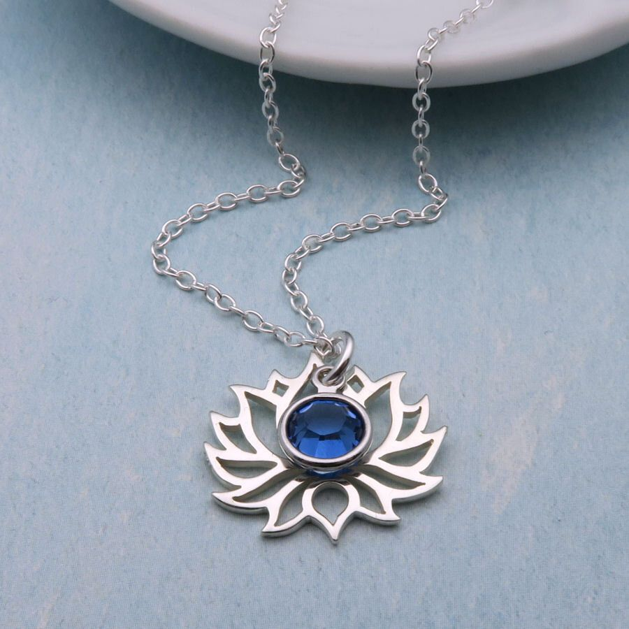 Sterling Silver Lotus Necklace Personalized Lotus Flower Necklace