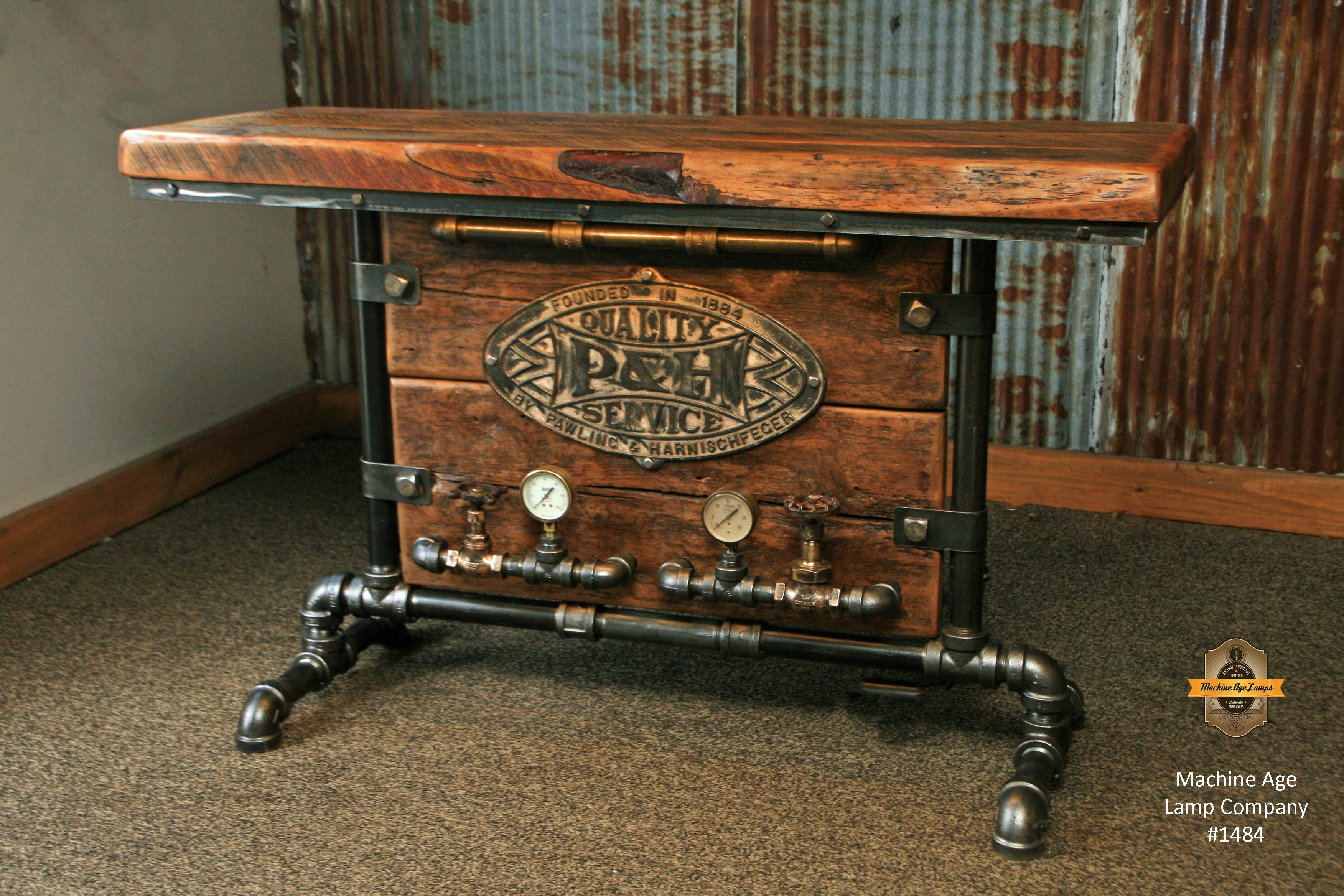 Steampunk Industrial Barn Wood Table Console Lighted 1484