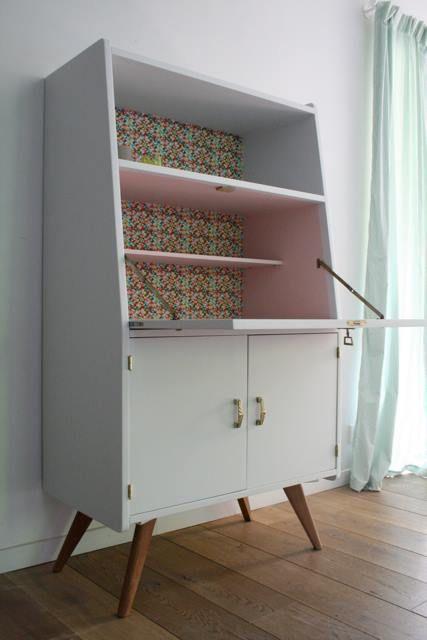 Secrétaire vintage pieds compas rénové et relooké par Les Jolis - relooker un meuble en pin