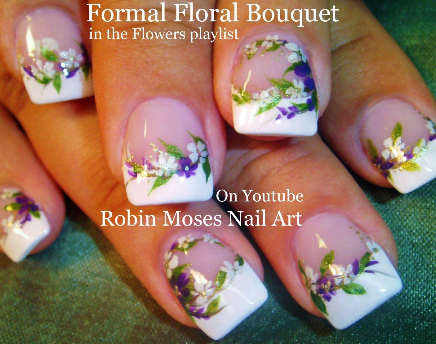 Nail Art Tutorial   DIY Wedding nails   Flower Bridal Nail Design ...
