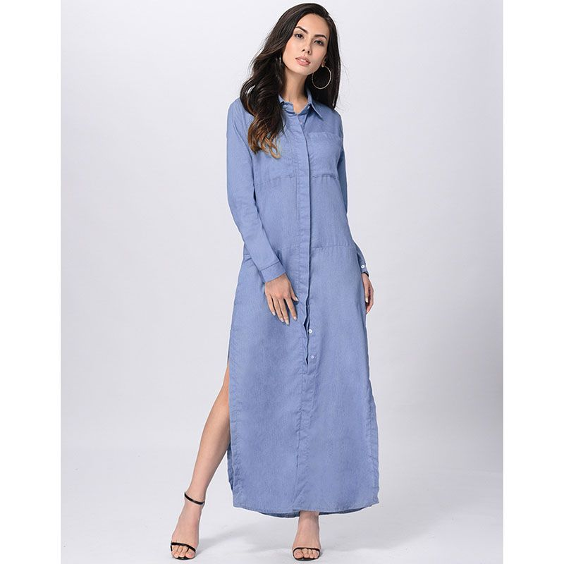 Click To Ruiyige Spring Autumn Women Jeans Long Dress Polo Collar