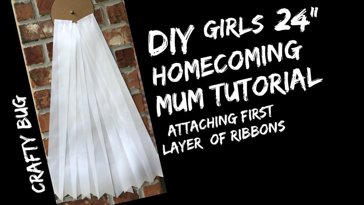 """GIRLS 24"""" HOMECOMING MUM TUTORIAL; attaching ribbon streamers; DIY HOMECOMING MUMS - YouTube #homecomingmumsdiy"""
