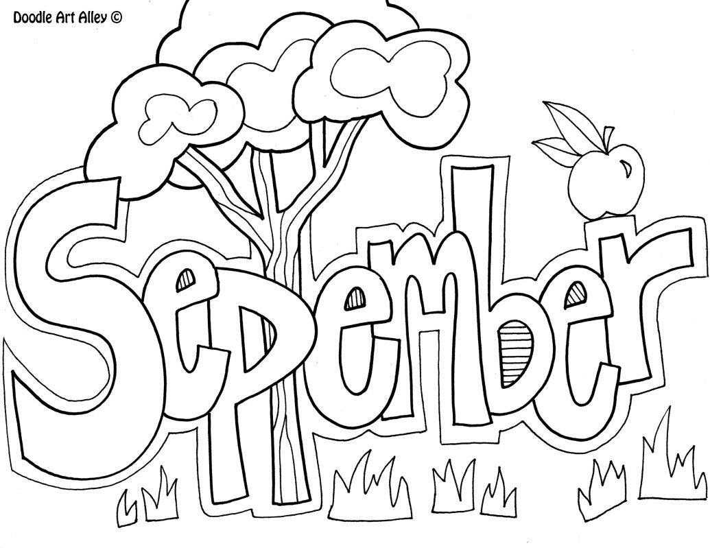September Month Coloring Pages For Kids Coloring Pinterest