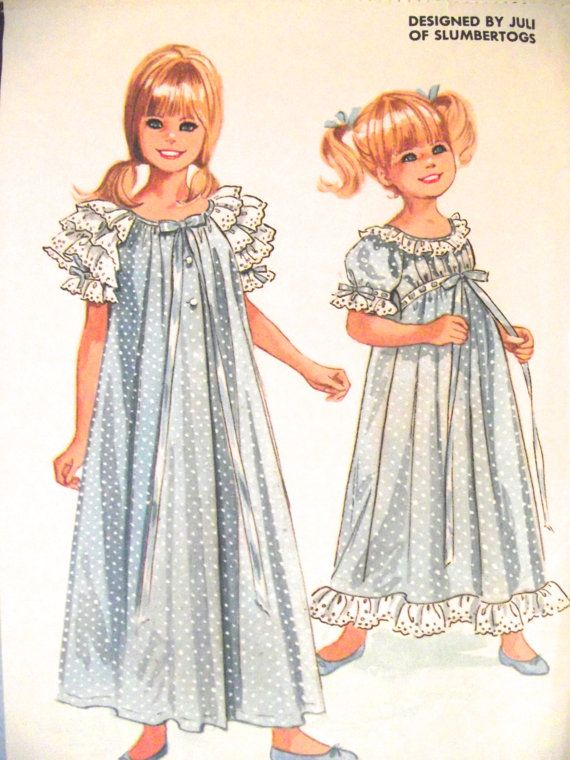 Vintage Sewing Pattern for Girls\' Robe and Nightgown, Size 10 ...