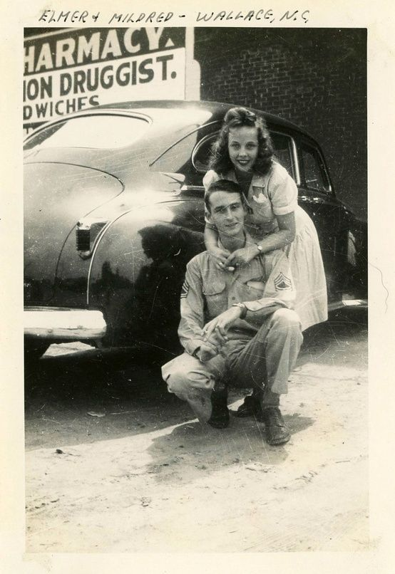 Young 1940s Love Elmer Mildred Vintage 40s Couple