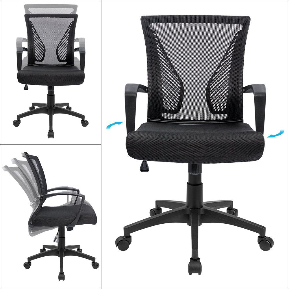 Office chair mid back swivel lumbar support desk chair