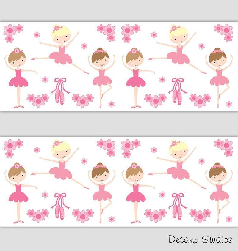 Best Ballerina Girls Room Wallpaper Border Wall Art Decals 400 x 300