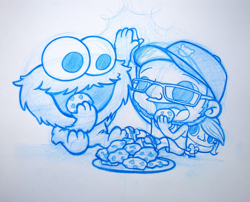 commissioned blue pencil drawing i finished a few months ago omomnom cooookies d