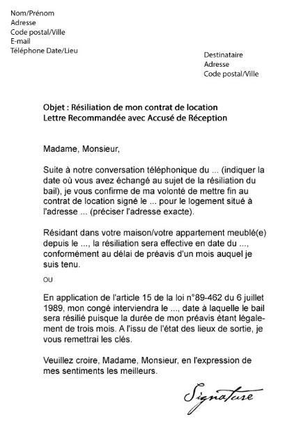 Lettre De Preavis Appartement Meuble R Siliation Bail