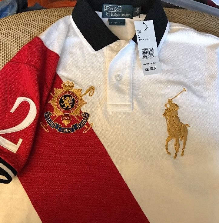 white and gold ralph lauren polo shirt