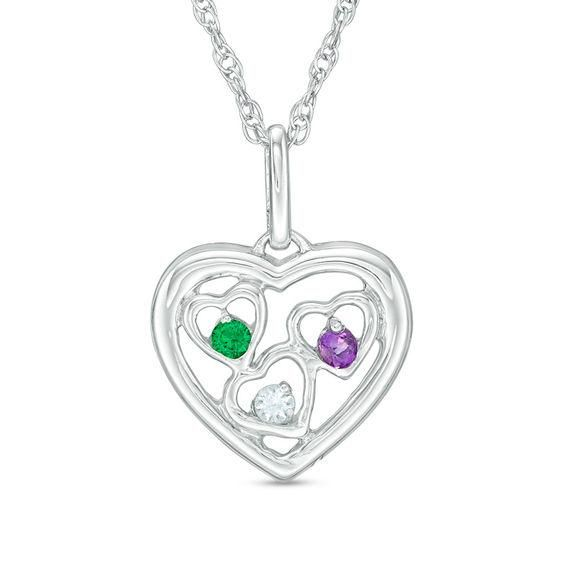 Zales Mothers Simulated Birthstone Heart Pendant in Sterling Silver (7 Stones) 5yXpEhYON