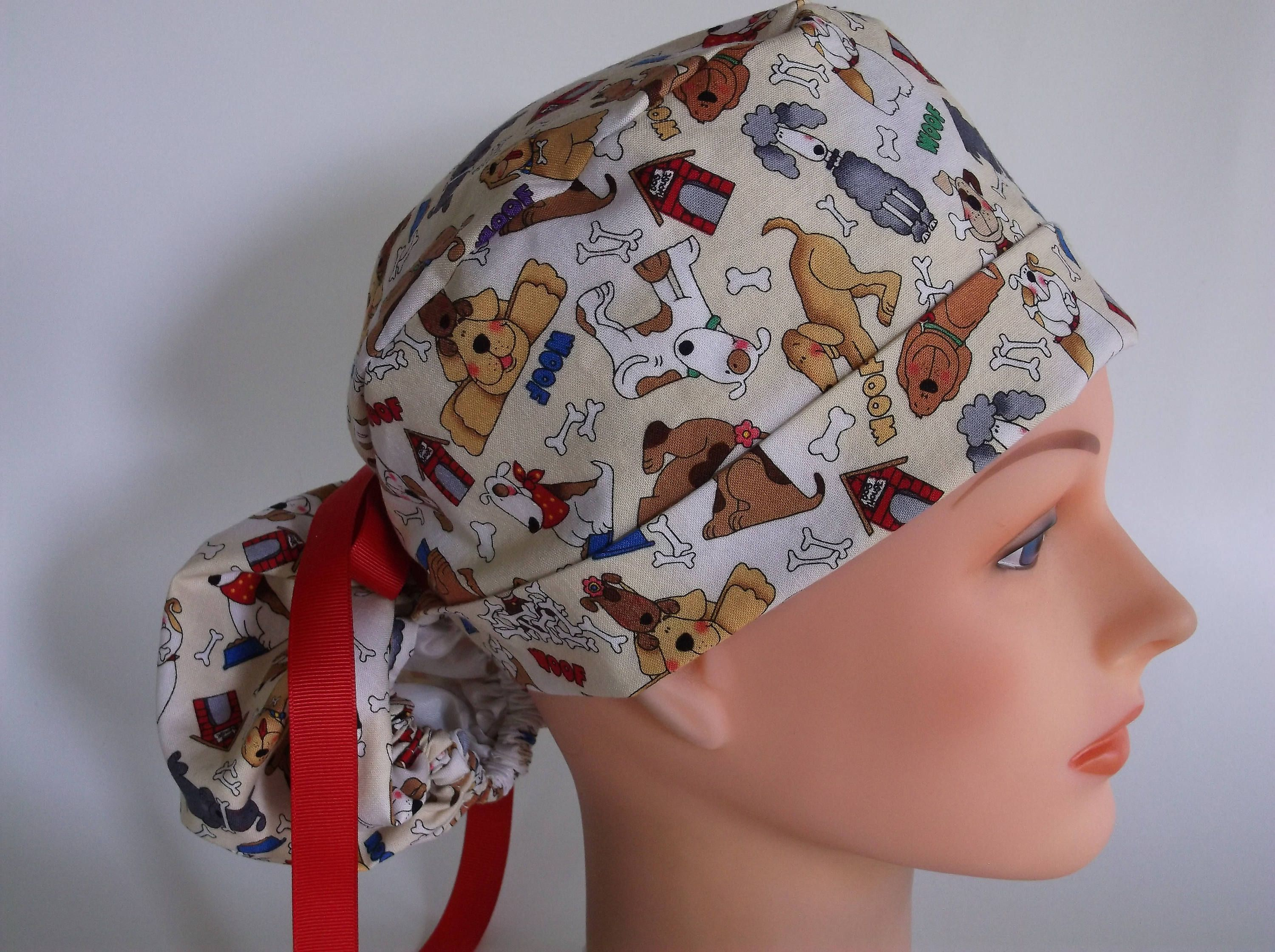 0275c34ce2f Woof Woof Ponytail - Womens lined surgical scrub cap