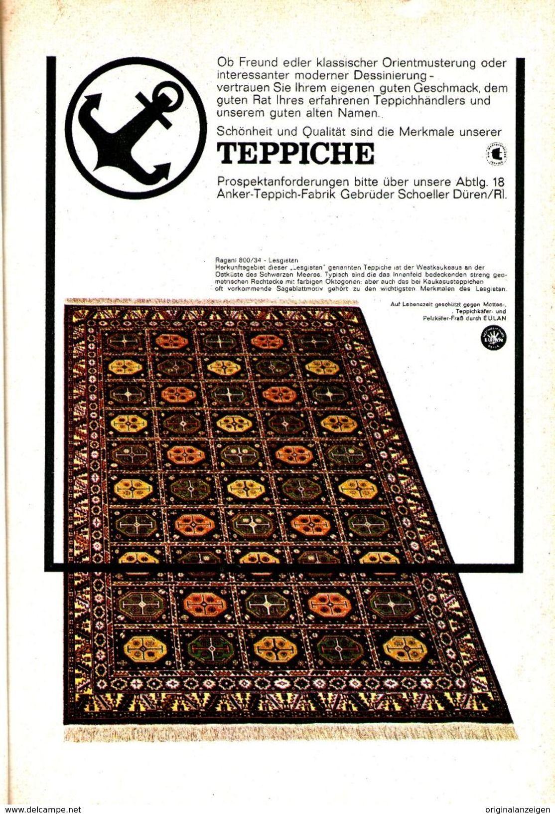 Original Werbung Anzeige 1962 Anker Teppiche Gebruder Schoeller Duren Ca 120 X 170 Mm Werbung Teppich Alte Namen Zu Verkaufen