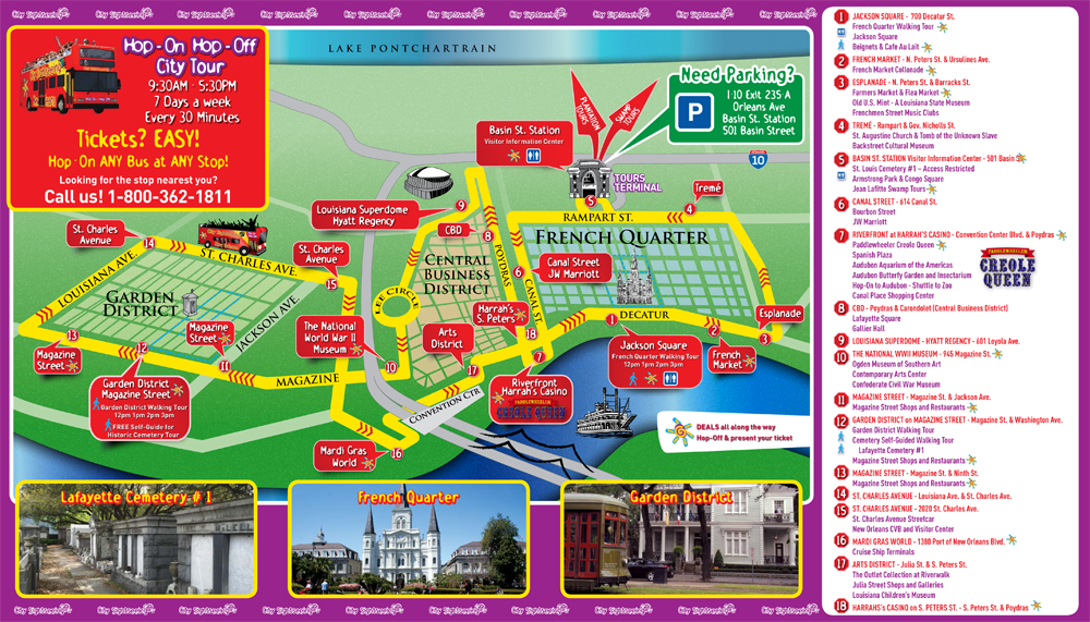 City Sightseeing New Orleans Map Tour | Louisiana | New orleans, Bus on