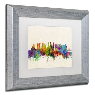 "Trademark Art ""Tokyo Japan Skyline II"" by Michael Tompsett Matted Framed Graphic Art Size: 11"" H x 14"" W x 0.5"" D"