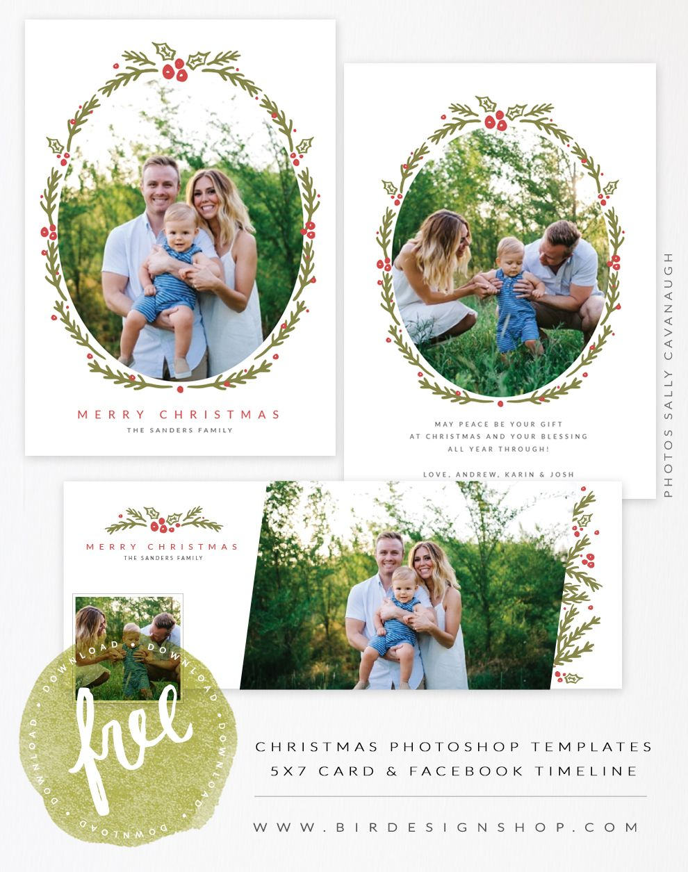 August freebie - Christmas card & FB timeline templates | Free stuff ...