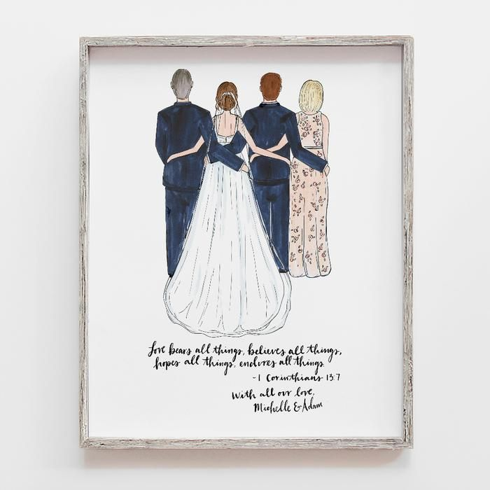 Wedding Gifts For Relatives: Custom Family Wedding Drawing In 2020