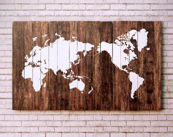 rustic wooden world map made from reclaimed pallet boards 100x60cm 39x24in pochoir. Black Bedroom Furniture Sets. Home Design Ideas