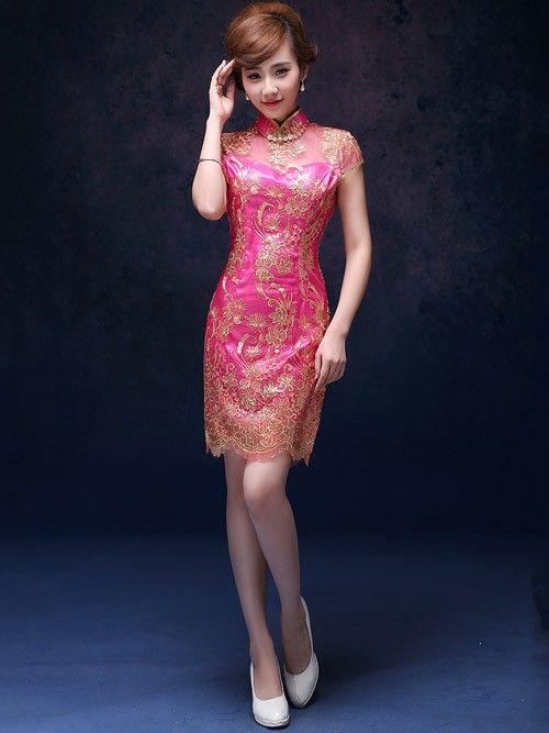 Fuschia Short Sequins Qipao / Cheongsam Evening Dress | cheongsam ...