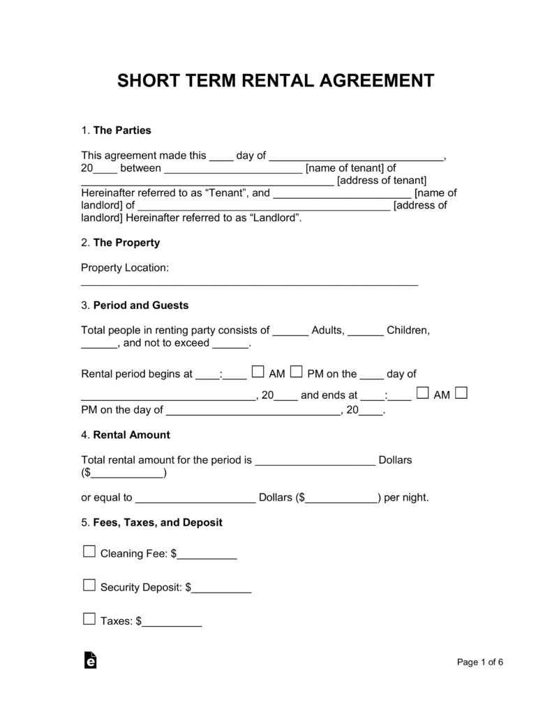 Short Term Vacation Rental Lease Agreement Eforms Free