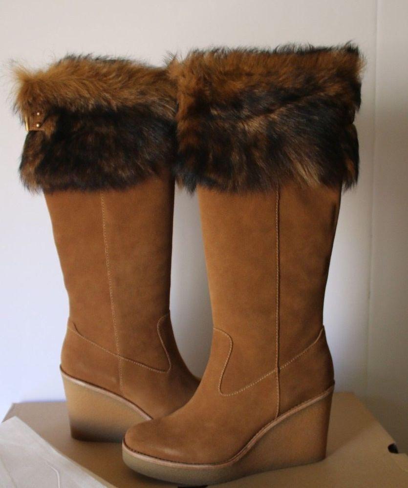7696dfd016a UGG Valberg Tall Wedge Suede Boots Sheepskin Fur Collar Heel (8.5 ...