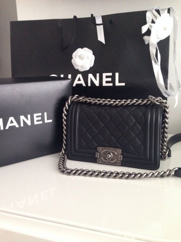879b6d20efa0 Authentic Chanel Le Boy Bag Small Black Lambskin Silver Hardware | eBay