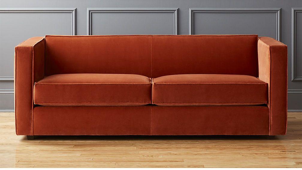 Club Rust Velvet Sofa Sofa And Loveseat Set Sofas For Small Spaces Single Cushion Sofa
