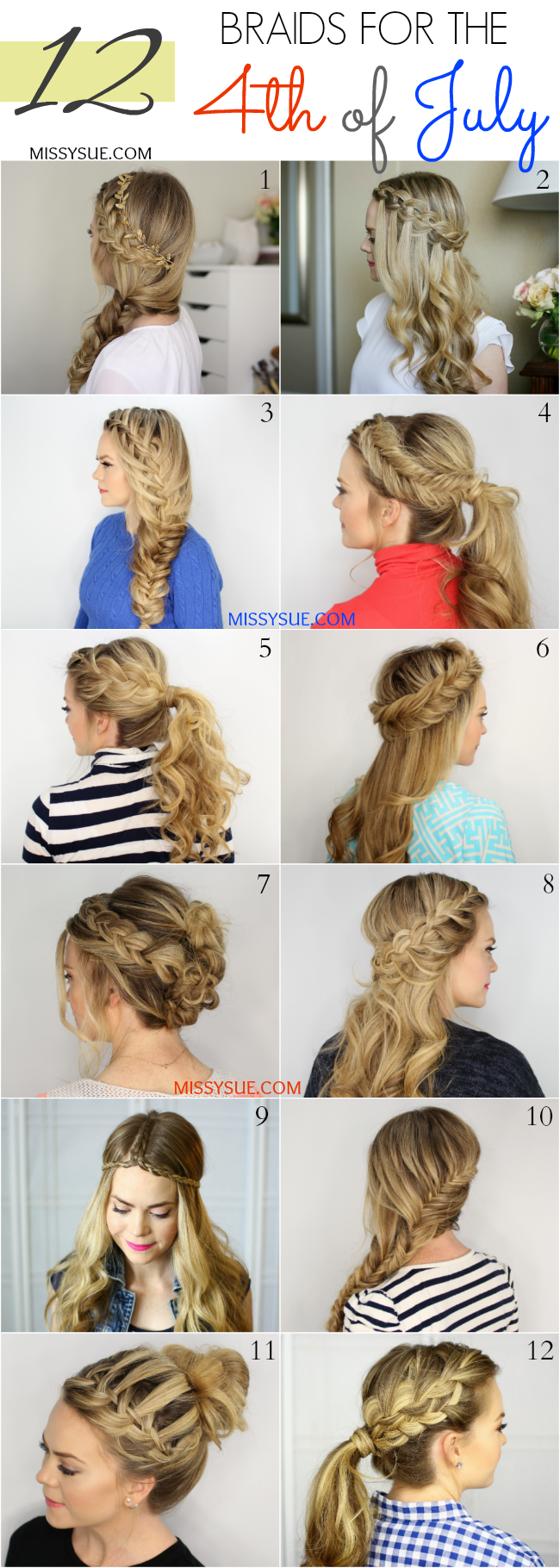 12 braids for the 4th of july | hair tutorials | hair styles