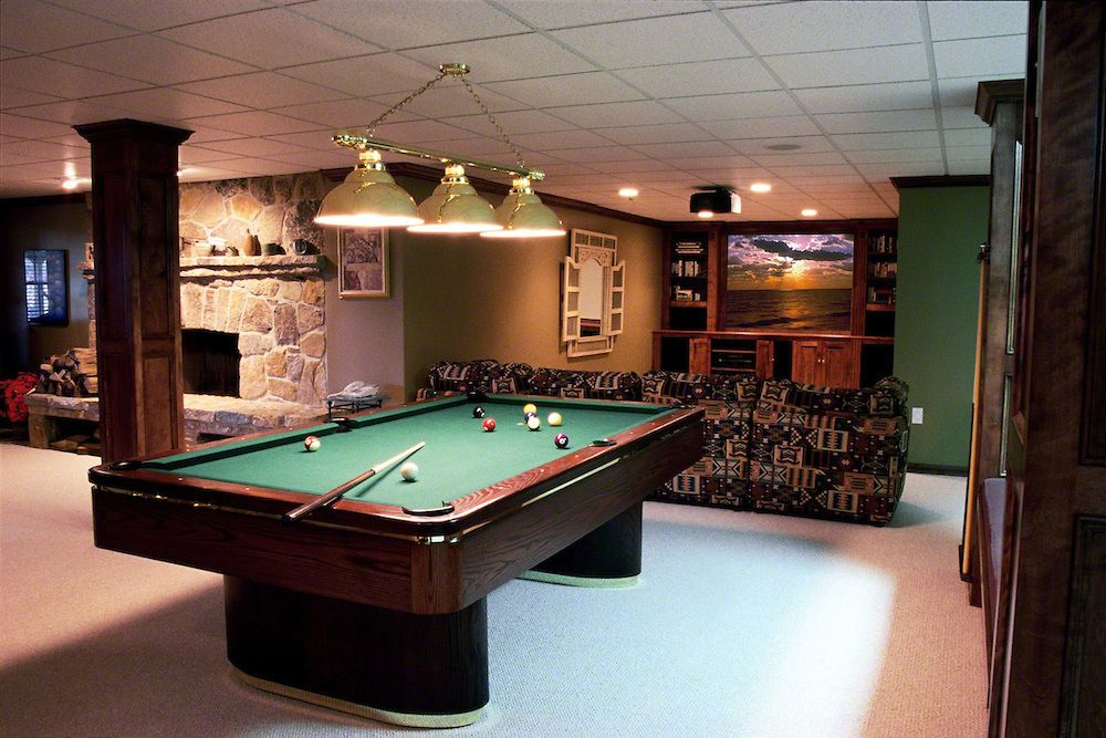 Great Man Cave Pool Table And TV