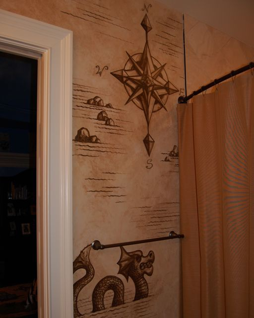 Treasure Map Bathroom Pirate Bathroom Decor Pirate Bathroom Bathroom Mural