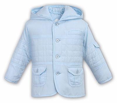 3055f1e66c89 Sarah Louise   Dani Baby   Toddler Boys Hooded Coat - Light Blue ...