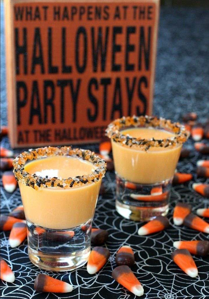these pumpkin pie shots are definitely on the adult dessert table for halloween