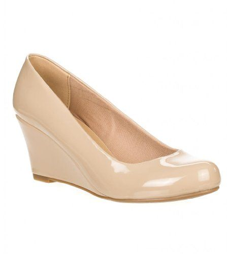 5b630fb64 Forever Link Women's DORIS-23 Faux Leather Mid Heel Round Toe Wedge Pumps,9