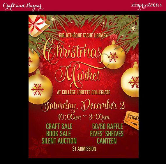 christmas bazaar market craft sale flyer holiday seasonal raffle