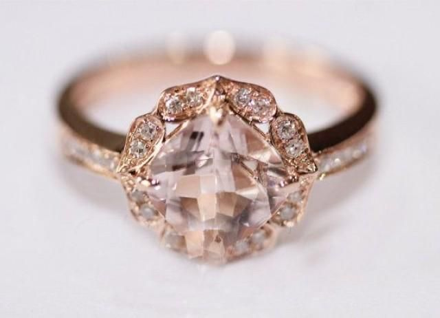 Vintage Floral Design HALO Cushion Cut Morganite Ring Pave Diamonds Ring 14K