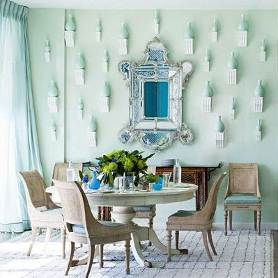 How brave you are, Miles Redd!! Mint colored dining room.