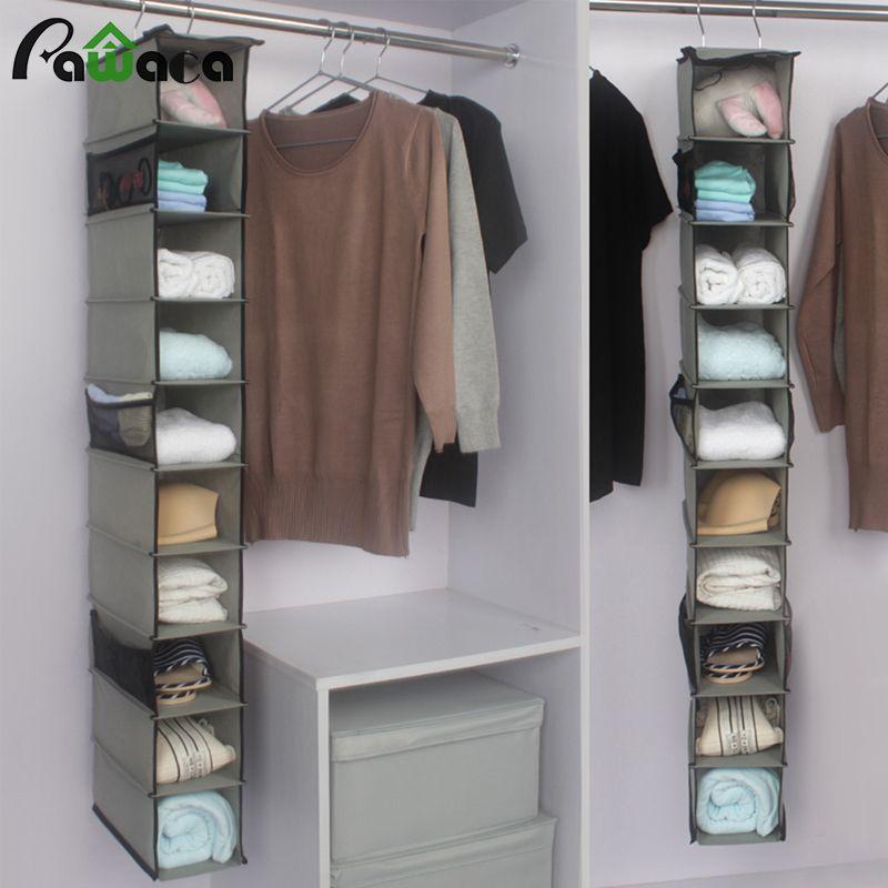 10 Pockets Hanging Storage Bag For Clothes Shoes Handbag Organizer Box Shelves Holder Closet Cubby Closet Clothes Storage Shoe Storage Cabinet Hanging Storage