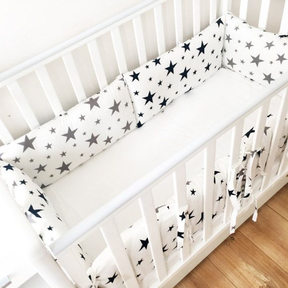 Topes de cuna Stars gris ropa de cama blanca estrellas | bebe ...