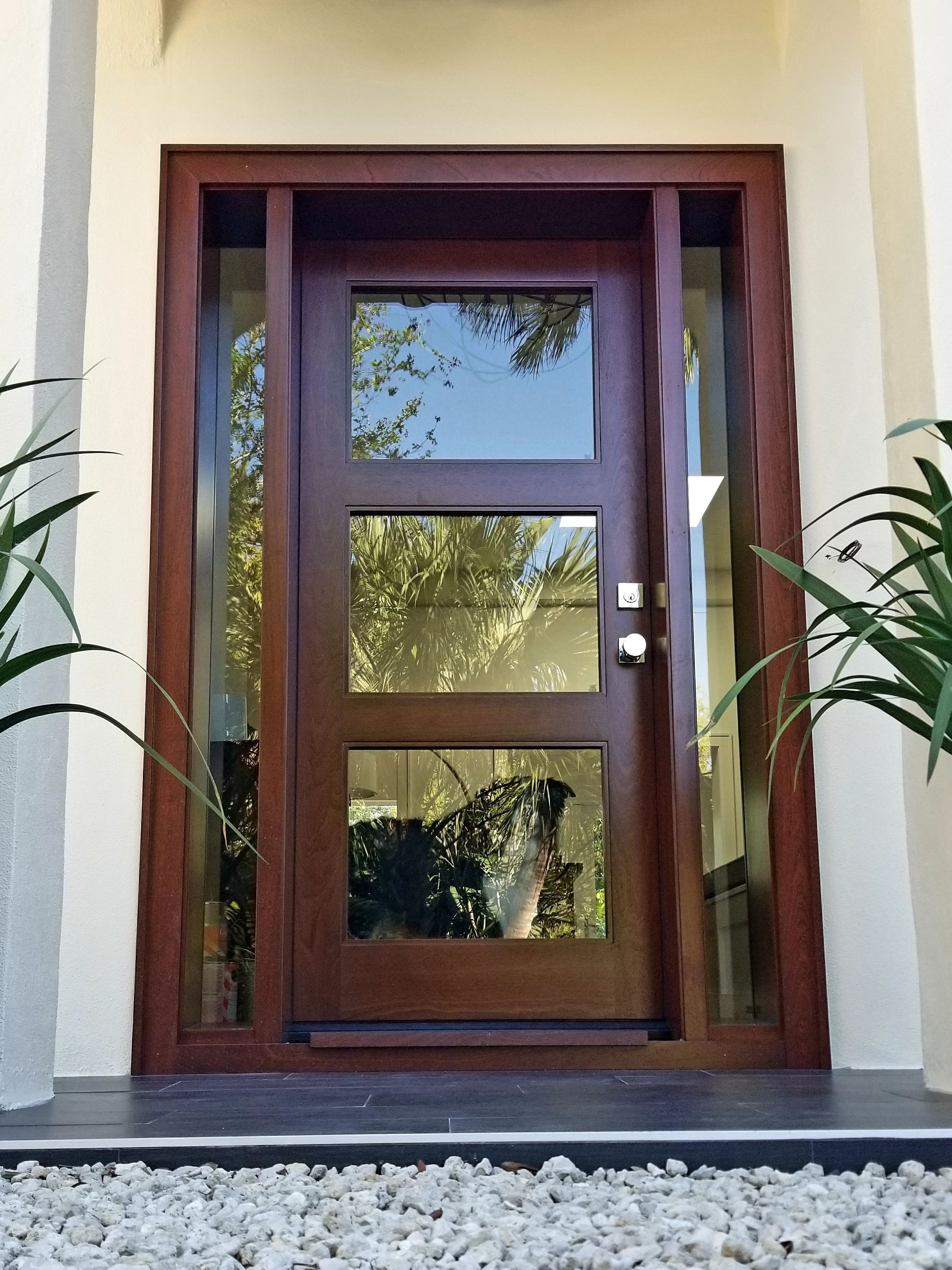 Hurricane Impact Rated Modern Sapele Home Entry Door In Sarasota Fl Fhwoodworking Com Exterior Doors With Glass Modern Window Design Exterior Doors