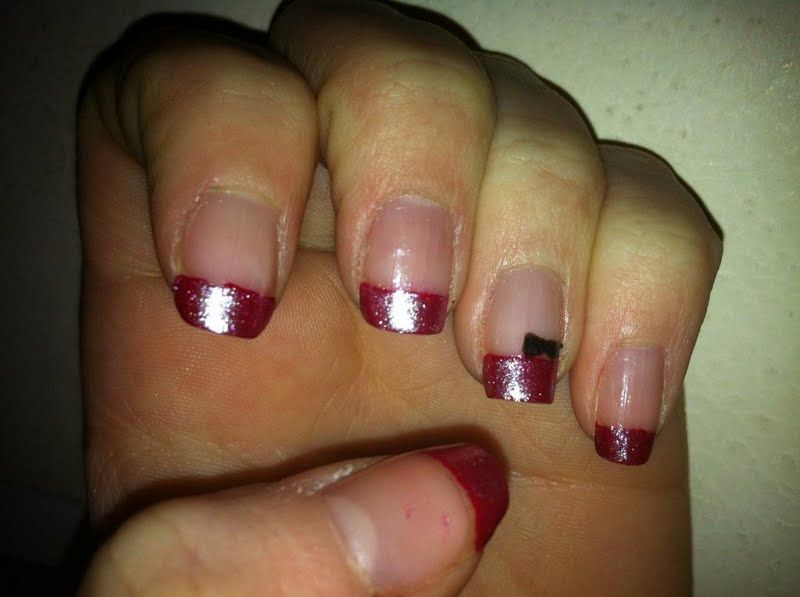 red French tip with bow
