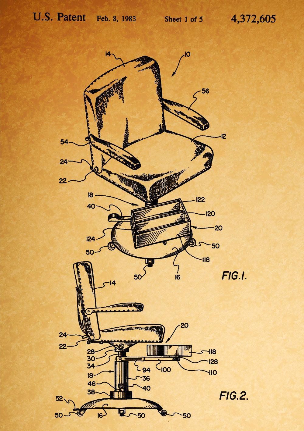 Friseurstuhl Frisierstuhl Friseur Patent Druck Barber Chair