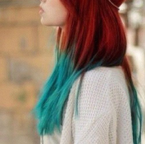 Natural Red Hair With Blue Tips Google Search Turquoise Hair