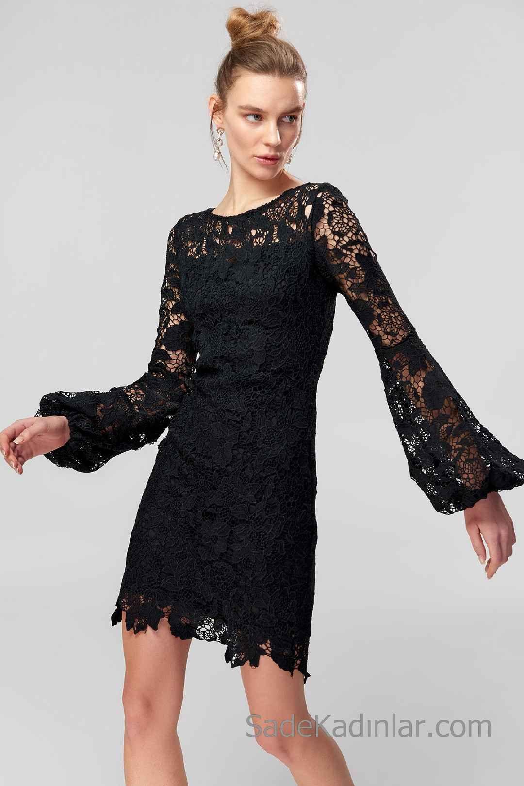 892262a8cd28f Siyah Kısa Abiye Elbise Modelleri Uzun Kollu Yuvarlak Yakalı Güpür ...
