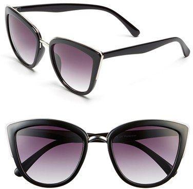 34e6442a345ee Junior Women s Bp. 55Mm Metal Rim Cat Eye Sunglasses - Black Cute Sunglasses