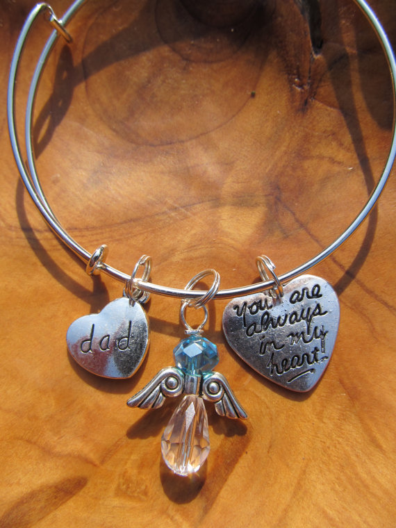 Memory Bracelet Dad You Are Always In My Heart Personalize Choose Any Birthstone Angel