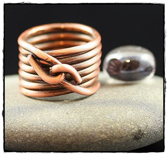 Wire Wrapped Statement Ring Large- Copper- Stacked ring | Armbänder ...